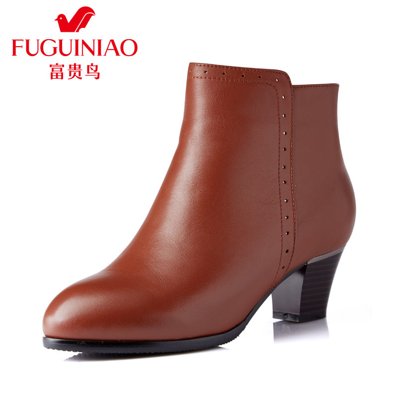 富贵鸟 秋冬季新款短靴女加绒保暖马丁靴英伦风短筒女靴子