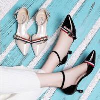 古奇天伦早春新款一字扣性感公主女鞋春季浅口单鞋高跟鞋细跟尖头单鞋QW03341