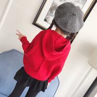 女童蝙蝠衫春季2018新款儿童针织衫宝宝开衫外套连帽毛衣