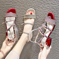 ins潮气质女士高跟凉鞋 韩版百搭学生鞋子 新款高跟鞋粗跟凉鞋女