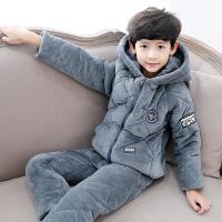 男童睡衣儿童冬装法兰绒加绒保暖夹棉家居服