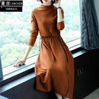 女王秋季新款女装长袖修身显瘦中长款打底针织连衣裙