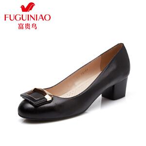 富贵鸟  夏季新款头层羊皮橡胶底女单鞋方形饰扣粗跟女鞋