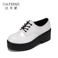 【达芙妮年货节】Daphne/达芙妮 休闲舒适厚底方跟单鞋圆头系带松糕女鞋