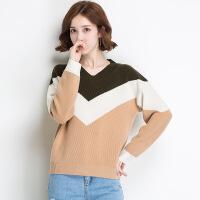 冬季新品女士羊毛衫 V领撞色韩版套头全羊毛针织毛衣打底衫 银素