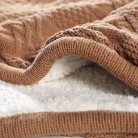 伊丝洁家纺2017秋冬季新款棉被子加厚双层羊羔绒双面毛毯 针织毛线毯办公室盖毯床上用品 128*155cm