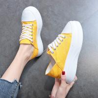 休闲单鞋女夏季时尚新款学生 百搭糖果色厚底松糕运动鞋可踩脚女鞋