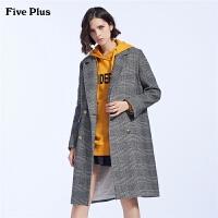 Five Plus女装bf格子羊毛呢大衣女长款西装领外套潮宽松长袖