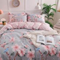 全棉四件套纯棉简约被套床单1.5m学生单人床上三件套床笠款