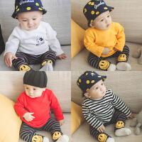 女婴儿0岁3个月1男6宝宝加绒打底衫卫衣套装秋冬装
