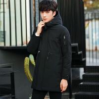 冬季新款纯色加厚羽绒服男士中长款修身潮流青年连帽外套男装 黑色