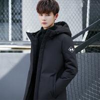 羽绒服男冬装韩版修身中长款学生连帽上衣青年休闲加厚保暖外套男