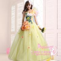 婚纱礼服新款新娘礼服韩版修身敬酒服公主裙演出服绑带服装 浅黄色绑带款 加大XXX