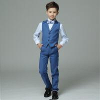 儿童演出服礼服长袖蓝色小花童礼服男 男童礼服夏薄新款马甲套装男