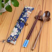 20180407203845702木制餐具套装原木勺子木筷子棉布袋学生旅行环保便携餐具