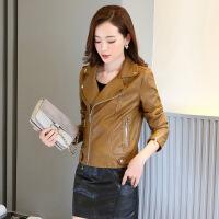 2017秋季新款时尚皮夹克女韩版修身长袖机车pu皮衣女短款小外套潮