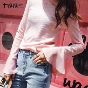 七格格喇叭袖上衣chic学生紧身2018早秋新款宽松韩版长袖t恤小心机打底衫女