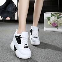 秋冬百搭学生帆布鞋女韩版厚底超高跟12CM内增高加绒休闲运动鞋潮