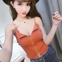 时尚吊带背心女夏外穿韩版学生潮款个性感潮人露脐装原宿风针织衫