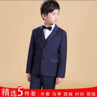 花童礼服钢琴演出服宝宝西服 儿童西服外套男童西装套装新款春 深蓝色