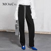 MOCO春季新品松紧腰撞色织带休闲裤MA181PAT108 摩安珂