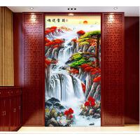 自粘鸿运当头山水图装饰画客厅餐厅无框贴画竖版走廊过道壁画玄关