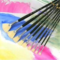 老人头猪鬃扇形笔 水粉油画水彩画笔套装初学者手绘排笔颜料美术生专用学生用成人专业丙烯色彩小号0号画画刷包邮