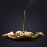 莲花香炉纯铜家居檀香线香家用香炉香托沉香线香炉香插香座 莲花香插