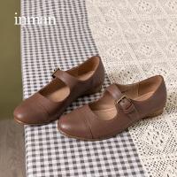 茵曼女鞋软皮单鞋女一字扣带奶奶鞋法式文艺复古小皮鞋