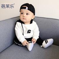 男婴儿卫衣0岁6个月女宝宝秋季套头长袖1上衣2春秋款衣服小童连帽
