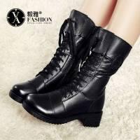 【毅雅】头层牛皮靴子女真皮中筒靴子新款粗跟马丁靴女英伦风棉鞋