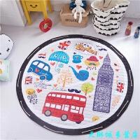 折叠圆形布质收纳垫地垫 儿童爬爬垫宝宝爬行垫环保游戏毯玩具收纳 直径1.5米左右