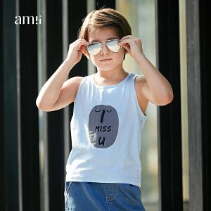 【下单立享5折】amii男中大儿童背心2018夏装新款韩版时尚休闲上衣12-15岁男孩