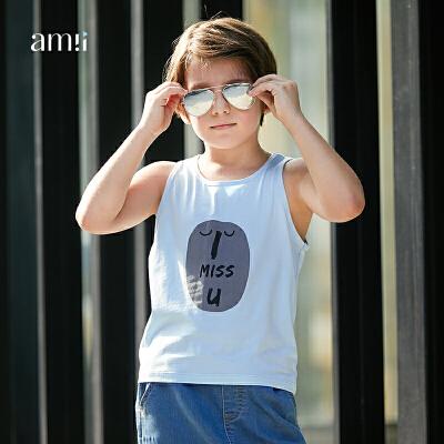 AMII男中大儿童背心2018夏装新款韩版时尚休闲上衣12-15岁男孩.