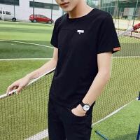 韩观男士短袖2018新款韩版潮流T恤夏季学生宽松衣服修身帅气个性男装 黑色0 02