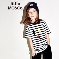 littlemoco秋季新品儿童T恤圆领黑白条纹小丑印花图案短袖T恤