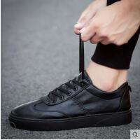 新款板鞋男士休闲皮鞋抖音同款韩版潮流百搭男鞋学生小黑潮鞋厨师