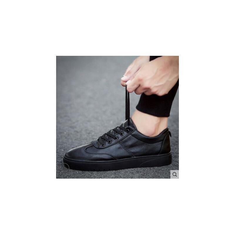 新款板鞋男士休闲皮鞋抖音同款韩版潮流百搭男鞋学生小黑潮鞋厨师 品质保证 售后无忧