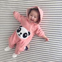 女婴儿连体衣服春秋冬0岁3男1宝宝春装6新生儿外套装加绒加厚棉衣