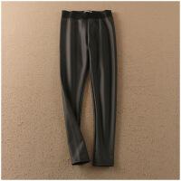 新品修身打底裤弹力小脚纯色高腰性感PU皮裤女23025