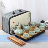 ????简约现代客厅办公室黑陶瓷快客杯套装LOGO定制礼品便携泡旅行茶具