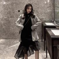 复古chic千鸟格休闲西装外套女拼接网纱黑色鱼尾长袖连衣裙两件套
