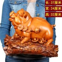猪摆件创意木工艺品生肖猪家居饰品办公室摆设开业礼品