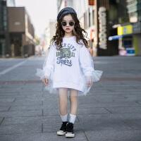 女童卫衣儿童宽松假两件套头上衣女孩中长款