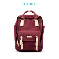 茵曼新品双肩包女帆布背包休闲学院书包旅行包包6871011025