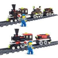 男孩积木火车轨道玩具模型