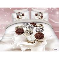 3D立体豹纹四件套亲肤棉红色玫瑰花床上用品床单被套新结婚庆礼品 乳白色 棒棒糖