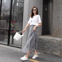 港味chic2018新款学生韩版少女高腰雪纺黑白格子及裸半身长裙 图片色