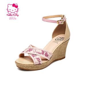 Daphne/达芙妮夏季甜美女鞋 坡高跟露趾一字扣凉鞋1015303915