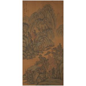 K1403 董邦达《巨峰秀谷》(苏六朋、改琦二人提拔,并有多位名家收藏印章。)